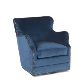 Finley Komodo Blue Swivel Armchair with Nailhead Trim