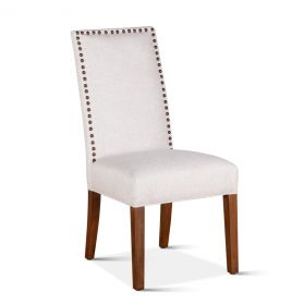 Jones Off-White Linen Dining Chair with Natural Teak Legs
