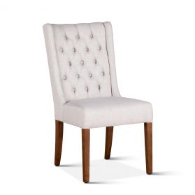 Lara Off-White Linen Dining Chair with Natural Teak Legs