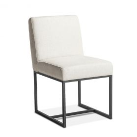 Renegade Off-White Linen and Iron Dining Chair