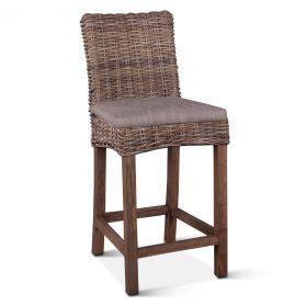 Kubu Rattan Bar Chair Natural Gray with Cushion