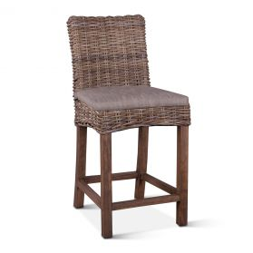 Kubu Rattan Counter Chair Natural Gray with Cushion