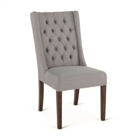 Lara Oxford Gray Linen Dining Chair with Weathered Teak Legs