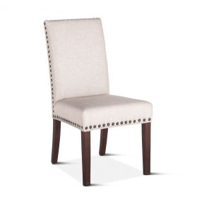 Sofie Off-White Dining Chair with Walnut Legs