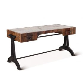"Bowery 63"" Desk with Marble and Reclaimed Wood"