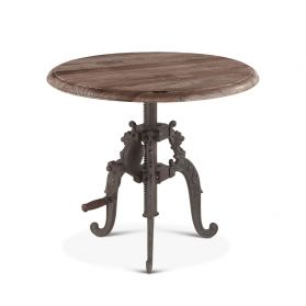 """French Vintage Side Table 24"""" Weathered Gray"""