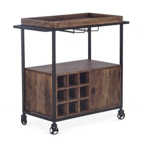 "Industrial Modern Bar Cart 34"" Tawny Brown"