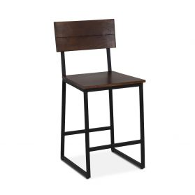 Mozambique Wood and Iron Counter Chair Walnut