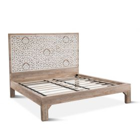 Tangiers Carved King Bed Natural White