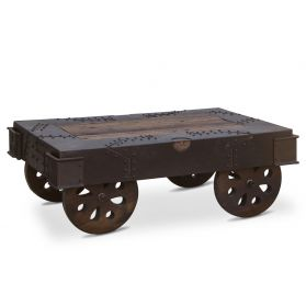 """Vintage Industrial Coffee Table 48"""" with Wheels"""