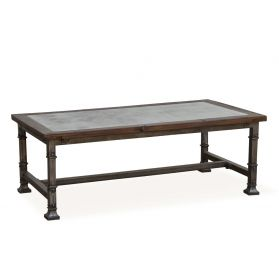 "Vintage Industrial 53"" Coffee Table with Marble Inlay"