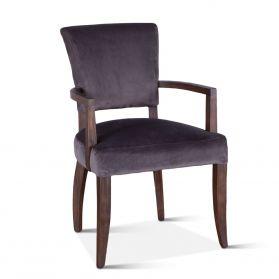Mindy Arm Chair Asphalt Velvet with Weathered Teak legs