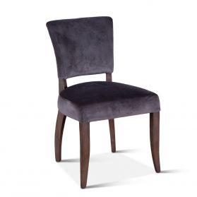 Mindy Side Chair Asphalt Velvet with Weathered Teak legs