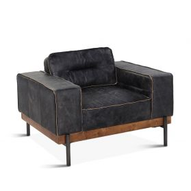 Portofino Leather Armchair Antique Ebony