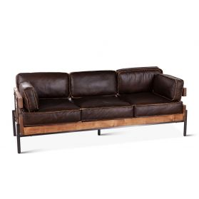 Portofino Leather 3-Seater Black Sofa