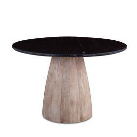 """48"""" Round Dining Table Black Marble with Modern Whitewash Mango Wood Base"""