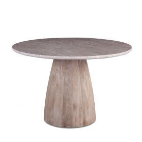 "48"" Round Dining Table Taupe Marble with Modern Whitewash Mango Wood Base"