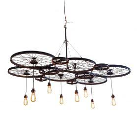 Peloton Black 6 Wheel Hanging Lamp